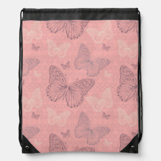 The Butterfly Pink Drawstring Bag