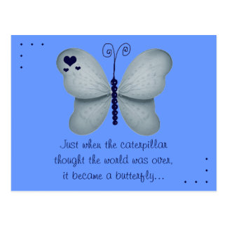 The Butterfly Quote Blue Postcard