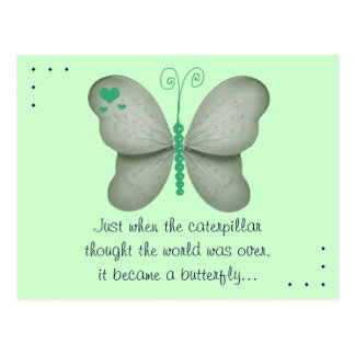 The Butterfly Quote Green Postcard