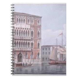 The Ca' Foscari, Venice, engraved by Brizeghel (li Notebook