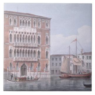 The Ca' Foscari, Venice, engraved by Brizeghel (li Tile