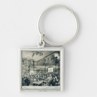 The Cabaret du Chat Noir, 1886 Silver-Colored Square Key Ring
