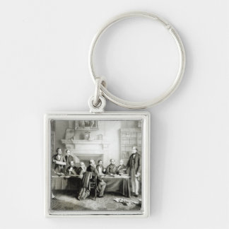 The Cabinet of Lord Derby of 1867, 1868 Silver-Colored Square Key Ring