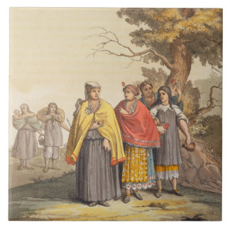 The Caciche Indians in Traditional Costumes, Nova Large Square Tile