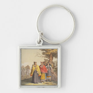 The Caciche Indians in Traditional Costumes, Nova Silver-Colored Square Key Ring