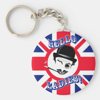 """The Cad's Union Jack """"Hello Ladies!"""" Basic Round Button Key Ring"""