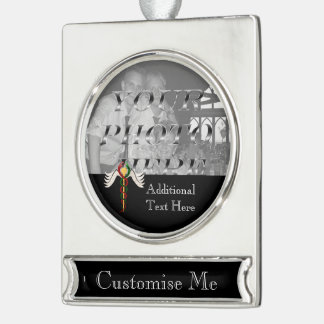The Caduceus (Full Colour) Silver Plated Banner Ornament