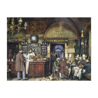 The Cafe in Rome, 1856 Canvas Print