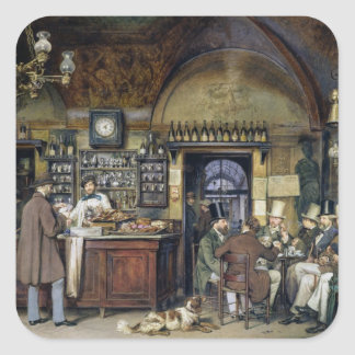 The Cafe in Rome, 1856 Square Sticker