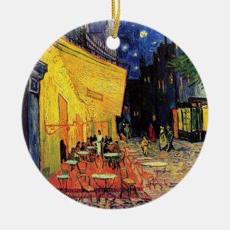 The Cafe Terrace in Arles, at Night - van Gogh Round Ceramic Decoration