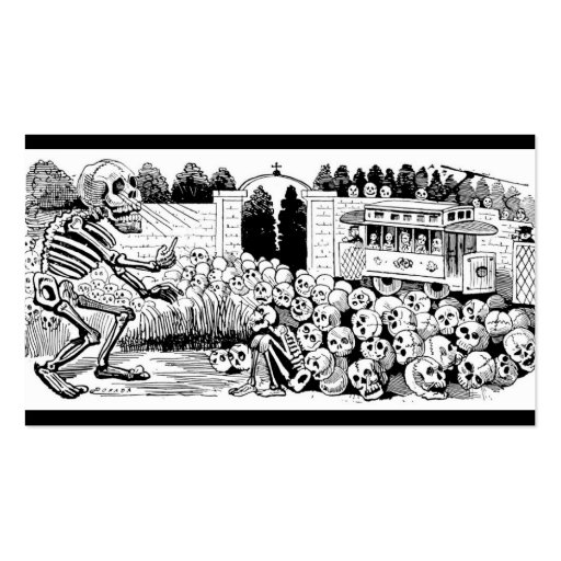 The Calavera of the Trolley Cars c. 1907, Mexico Business Card Templates
