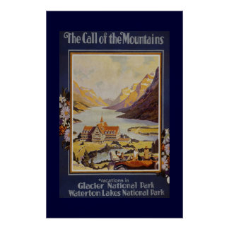 """The Call of the Mountains"" Vintage Travel Print"