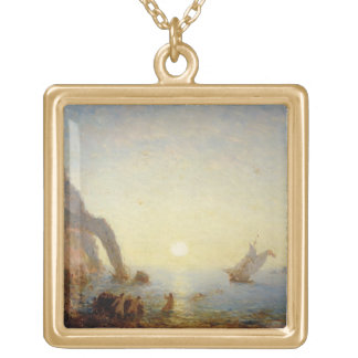 The Call of the Sirens (oil on canvas) Gold Plated Necklace