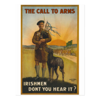 The call to arms, Irish world war Postcard