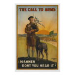 The call to arms, Irish world war Poster