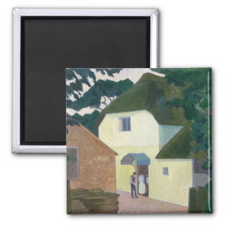The Caller at the Mill (oil on canvas) Square Magnet