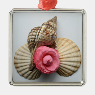 The Camellia And The Shells Silver-Colored Square Decoration
