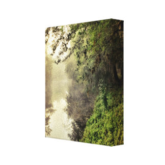 The canal on a foggy morning wrapped canvas canvas print