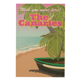 The canaries vintage travel poster wood canvases