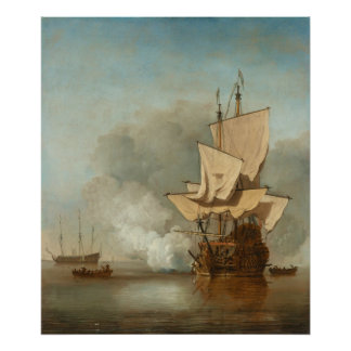 The Cannon Shot by Willem van de Velde the Younger Poster