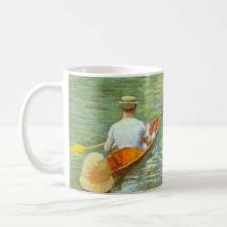 The Canoes, Perissoires by Gustave Caillebotte Basic White Mug