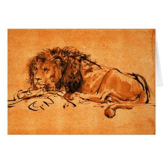 THE CAPE LION LYING DOWN, Orange ,Black Greeting Card