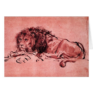 THE CAPE LION LYING DOWN ,Pink Black Greeting Card