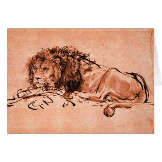 THE CAPE LION LYING DOWN ,Pnk Black Greeting Card