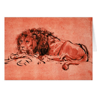THE CAPE LION LYING DOWN ,Red Black Greeting Card