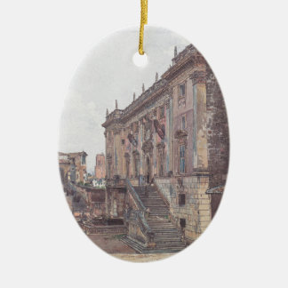 The Capitol in Rome by Rudolf von Alt Ceramic Oval Decoration