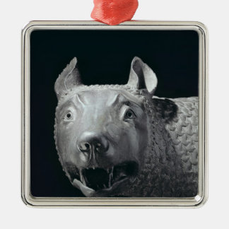 The Capitoline She-Wolf Silver-Colored Square Decoration