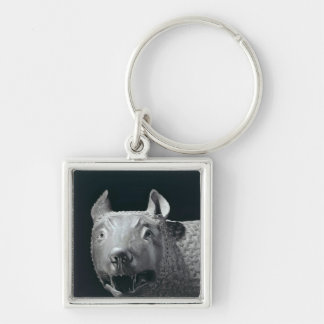 The Capitoline She-Wolf Silver-Colored Square Key Ring