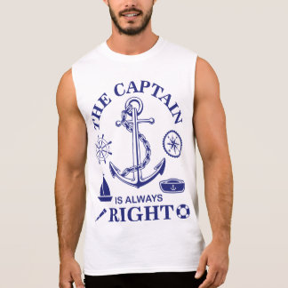 The Captain is always Right - Captain Funny - Navy Sleeveless Shirt