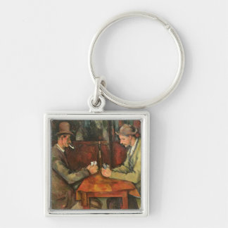 The Card Players, 1893-96 Silver-Colored Square Key Ring
