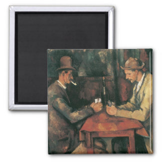 The Card Players by Cezanne, Vintage Impressionism Square Magnet