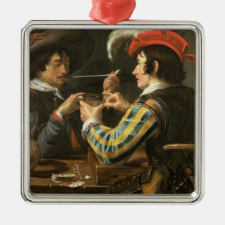 The Card Players Silver-Colored Square Decoration