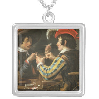 The Card Players Silver Plated Necklace
