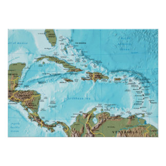 The Caribbean map Print