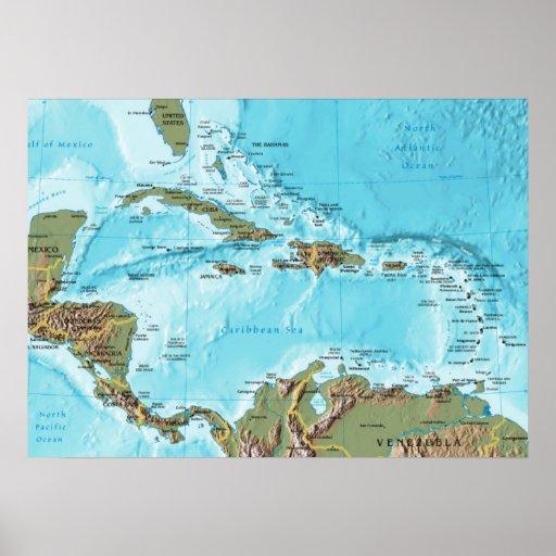 The Caribbean (map) Print