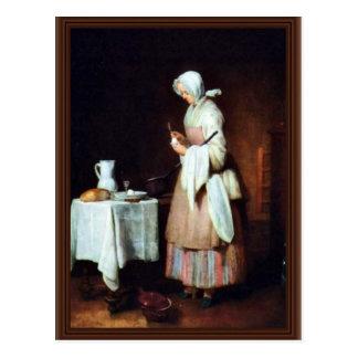 The Caring Maid By Chardin Jean-Baptiste Siméon (B Postcard