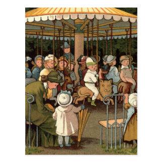 The Carousel Vintage Illustration Postcard