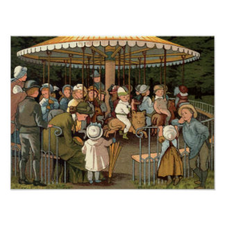 The Carousel Vintage Illustration Poster