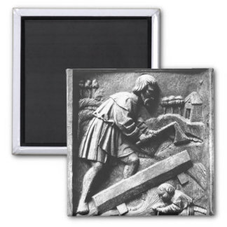 The Carpenter, detail from an altarpiece Square Magnet