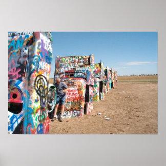 The Cars at Cadillac Ranch, Amarillo, Texas, USA Poster