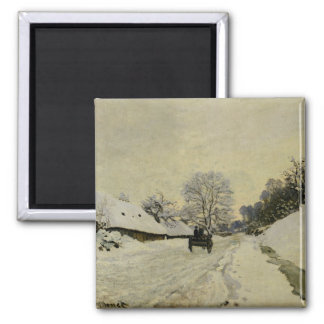 The Cart, or Road under Snow at Honfleur, 1865 Magnet
