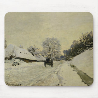 The Cart, or Road under Snow at Honfleur, 1865 Mouse Mat