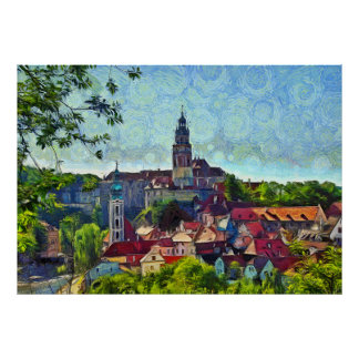 The castle above the town of Krumlov Poster