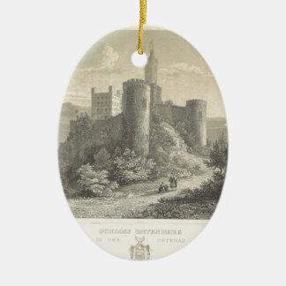 The Castle of ortenberg 1860, Darmstadt Ceramic Oval Decoration