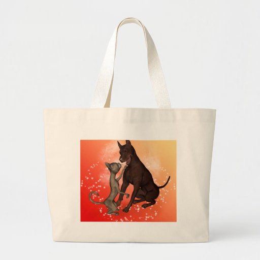 The cat and the dog canvas bag