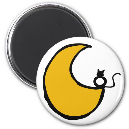 The cat and the moon 6 cm round magnet